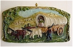 Old West Pioneer Folk Art Chalkware Wagon Train Wall Plaque