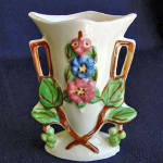 Click here to enlarge image and see more about item 1843: Pretty 1940s Hand Painted Pottery Vase with Applied Flowers