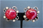 Swirled Maroon Cabochon Earrings with Faux Pearls in Silvertone Setting