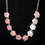 Click here to enlarge image and see more about item 2450: Moonstone Pink Lucite Hearts Choker Necklace