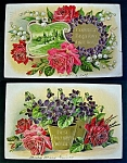 Click here to enlarge image and see more about item 2614: 2 Embossed Birthday Postcards with Roses and Violets 1909
