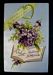 Click to view larger image of Violets Emblem of Faithfulness Antique Greeting Postcard (Image1)