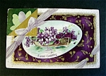 Click to view larger image of Early 1900s Easter Greetings Postcard - Violets in Rowboat (Image1)