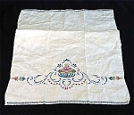 Click here to enlarge image and see more about item 2814: Vintage Embroidered Floral Linen Guest or Fingertip Towel