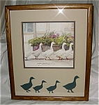Click here to enlarge image and see more about item 2823: 1983 Dawna Barton Framed Geese Print Dinner Call