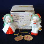 Click here to enlarge image and see more about item 2824-4: Napco Bone China Kissing Christmas Angel Figurines Mint in Box