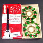 Lacquered Holly Christmas Candle Ring Bobeches in Original Box