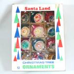 Click here to enlarge image and see more about item 3071: Box Poland Santa Land Round Indent Glass Christmas Ornaments