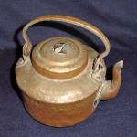 Click to view larger image of Antique Primitive Hammered Copper Water Kettle (Image2)
