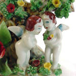 Click to view larger image of Figural Putti Cherubs Planter Vase with Applied Porcelain Roses (Image2)