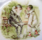 Click to view larger image of Bavarian Childs Baby Feeding Plate Naughty Pierrot Smoking Cigars (Image2)