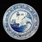 Click here to enlarge image and see more about item 3612-2: 1951 Delfts Birth Plate With Baby and Stork