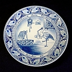 Click here to enlarge image and see more about item 3612: 1954 Delft Birth Plate With Baby and Stork