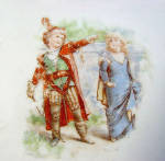 Click to view larger image of Children Playing Robin Hood Antique Porcelain Tea Trivet (Image2)