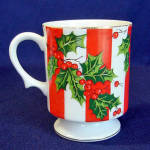 Click to view larger image of Pair Lefton Christmas Holly Footed Coffee Mugs (Image2)
