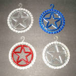 Click here to enlarge image and see more about item 4143-3: Red Blue Transparent Plastic Star in Ring Christmas Ornaments