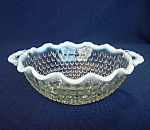 Click here to enlarge image and see more about item 4164: Hocking Moonstone Handled Crimped Rim Bowl