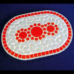 Click here to enlarge image and see more about item 4313: Retro Mosaic Tile Trivet Orange Flowers