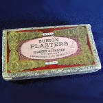Click here to enlarge image and see more about item 4633: Box of Bunion Plasters, Antique Medicine Cabinet Advertising
