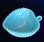 Click here to enlarge image and see more about item 4704: Fenton Blue Marble Hobnail Heart Shaped Handled Relish Dish