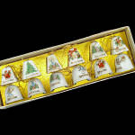 Click here to enlarge image and see more about item 4717-4: Box 1950s Japan Miniature Porcelain Bells Christmas Ornaments
