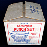 Click here to enlarge image and see more about item 4723: Anchor Hocking Crystal Sandwich Glass Punch Bowl Set In Original Box