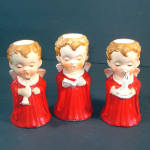 Click to view larger image of 3 Boy Angel Ceramic Christmas Candlesticks 1960s Japan (Image1)