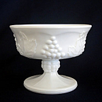 Click here to enlarge image and see more about item 4916: Indiana Milk Glass Harvest Grape Sherbets, 2 Available
