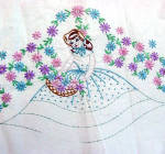 Click to view larger image of Southern Belle Embroidered Pillowcase to Finish with Crochet Ruffles (Image1)