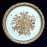 Click here to enlarge image and see more about item 5042: Nashco Musical Hand Painted Gold Flowers Tole Tray