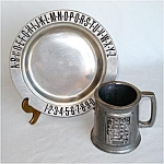 Click here to enlarge image and see more about item 5052: Child's Pewter ABC Plate and Mug