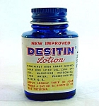 Click here to enlarge image and see more about item 5064: 2 Desitin Lotion Vintage Sample Medicine Bottles With Contents
