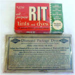Click here to enlarge image and see more about item 5095: Unopened Packages of Rit and Diamond Fabric Dyes