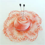 Click here to enlarge image and see more about item 5121: Peach Crocheted Doily Hat Pincushion with Hat Pins