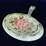 Click here to enlarge image and see more about item 5164: Pink Roses on Pale Green Shabby Tole Silent Butler
