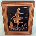 Click here to enlarge image and see more about item 5186: Ballerina Scene Tooled Copper Relief Framed Picture