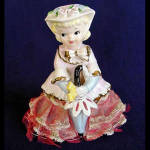 Click to view larger image of Parasol Girl Porcelain Figurine With Stiffened Lace Dress (Image1)