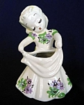 DeLee Art Pottery Maria 1944 Lady Vase Planter, Green Purple Flowered Dress