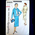Click here to enlarge image and see more about item 5244: 1950s Simplicity 2 Piece Slim Line Suit Pattern Size 18 Half, Uncut