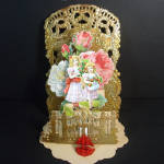 Elaborate 4 Layer Stand Up Victorian Valentine Gold Gilt Die Cut