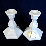 Click to view larger image of Tiara Miniature Milk Glass Candlesticks (Image1)