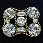 Click here to enlarge image and see more about item 5400: Square Geometric Brooch With Large Clear Rhinestones