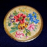 Click here to enlarge image and see more about item 5407: Floral Petit Point Powder Compact