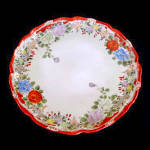 Click here to enlarge image and see more about item 5497: Pre-1920s Japan Hand Painted Floral Serving Plate