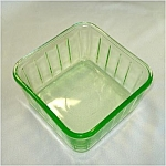 Click here to enlarge image and see more about item 5526: Hocking Square Depression Green Glass Refrigerator Dish