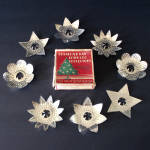 Click here to enlarge image and see more about item 5632-3: Box 1927 Diamond Ray Punched Tin Christmas Light Reflectors