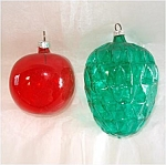 West Germany Unsilvered Apple and Pineapple Glass Christmas Ornaments