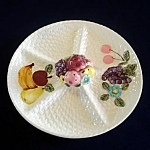 Click here to enlarge image and see more about item 5796: 1950s Hors d'Oeuvres Serving Plate with Fruit Decoration