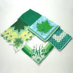 Click here to enlarge image and see more about item 5819-2: 4 Vintage Ladies Hankies Shades of Green