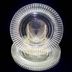 Click to view larger image of 14 Pieces Hocking Queen Mary Crystal Plates, Cups, Saucers (Image3)
